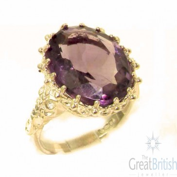 9ct Yellow Gold Large 16x12mm Oval 12ct Synthetic Alexandrite Ring