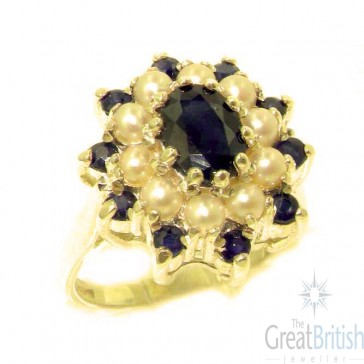 14K Yellow Gold Natural Sapphire & Pearl 3 Tier Large Cluster Ring