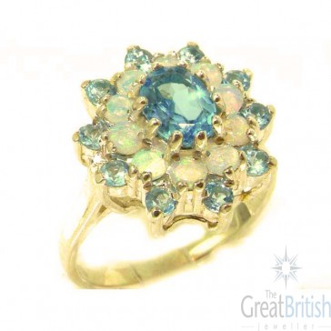 9ct Yellow Gold Natural Blue Topaz & Fiery Opal 3 Tier Large Cluster Ring