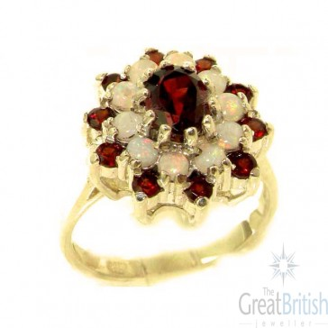 9ct Yellow Gold Natural Garnet & Fiery Opal 3 Tier Large Cluster Ring