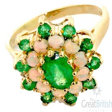 14K Yellow Gold Natural Emerald & Opal 3 Tier Large Cluster Ring