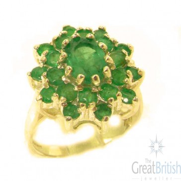 14K Yellow Gold Natural Emerald 3 Tier Large Cluster Ring