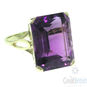 14ct Yellow Gold Large 16x12mm Octagon cut Amethyst Ring