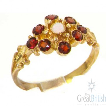 9ct Yellow Gold Natural Opal & Garnet Ring
