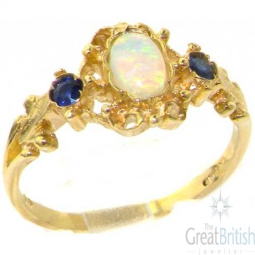 9ct Yellow Gold Natural Opal & Sapphire Victorian Style Ring