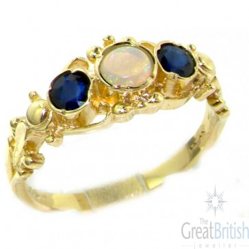 9ct Gold Opal & Sapphire Georgian Style Ring