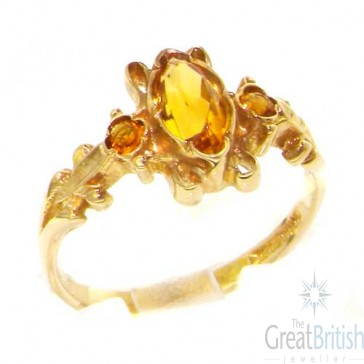9ct Yellow Gold Victorian Style Marquise Citrine Ring