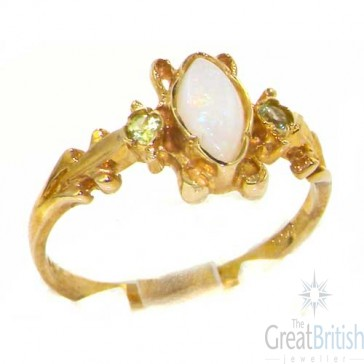 9ct Yellow Gold Victorian Style Marquise Opal & Peridot Ring