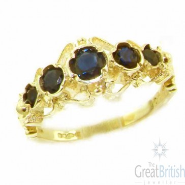 9ct Yellow Gold Genuine Natural Sapphire Ring of English Georgian Design