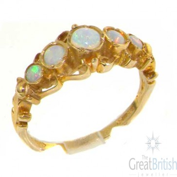 9ct Yellow Gold Genuine Fiery Opal Ring of English Georgian Design