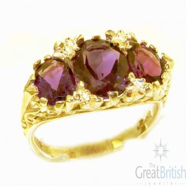 9ct Yellow Gold Natural Amethyst Victorian Designed Ring