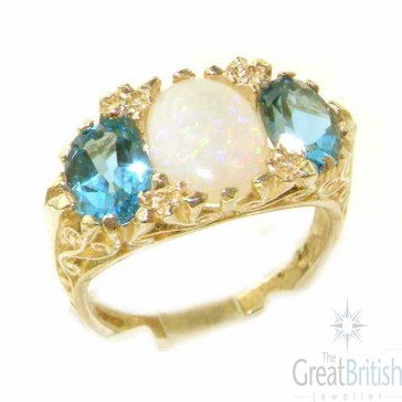 9ct Yellow Gold Natural Opal & Blue Topaz Victorian Designed Ring