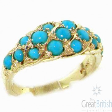 14K Yellow Gold Vibrant Turquoise Band Ring
