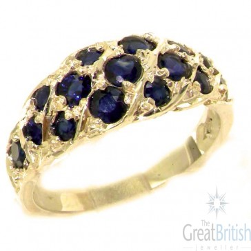 9ct Yellow Gold Natural Blue Sapphire Band Ring