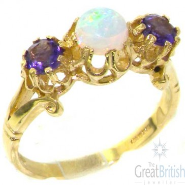 9ct Yellow Gold Natural Opal & Amethyst Trilogy Eternity Ring