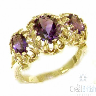 9ct Yellow Gold Natural Vibrant Amethyst Victorian Inspired Ring