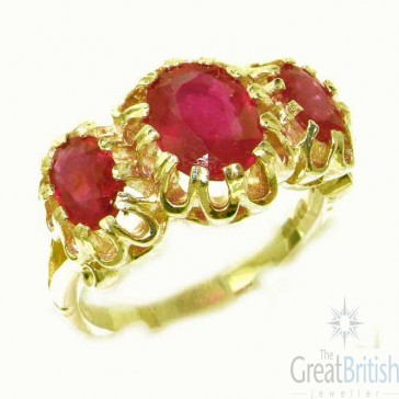 9ct Yellow Gold Natural Vibrant Ruby Victorian Inspired Ring