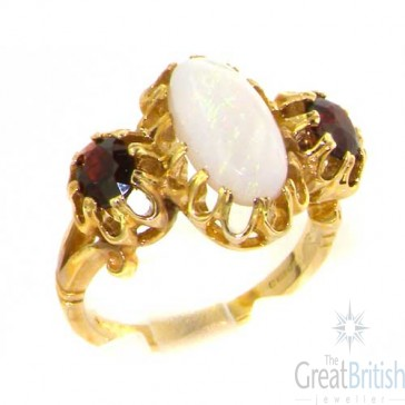 9ct Yellow Gold Natural Vibrant Opal and Garnet Victorian Inspired Ring