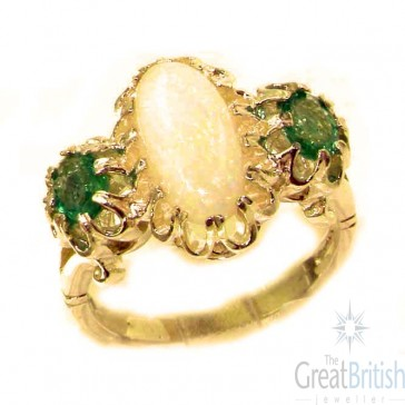 14K Yellow Gold Natural Opal & Vibrant Emerald Victorian Inspired Ring