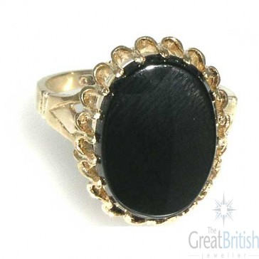 9ct Yellow Gold 16x12mm Large Onyx Ring