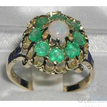 9ct Gold Fiery Opal & Emerald Cluster Ring