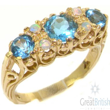 9ct Gold Vibrant Blue Topaz & Fiery Opal Ring