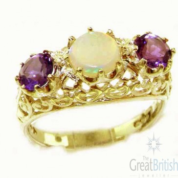 9ct Yellow Gold Fiery Opal & Amethyst Filigree Ring