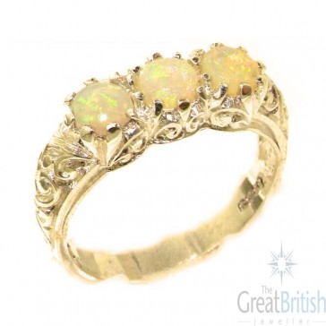 9ct Yellow Gold Natural Fiery Opal Art Nouveau Carved Trilogy Ring