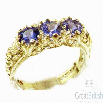 9ct Yellow Gold Natural Tanzanite Art Nouveau Carved Trilogy Ring