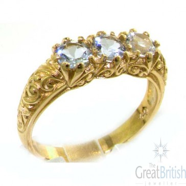 14K Yellow Gold Natural Aquamarine Art Nouveau Carved Trilogy Ring