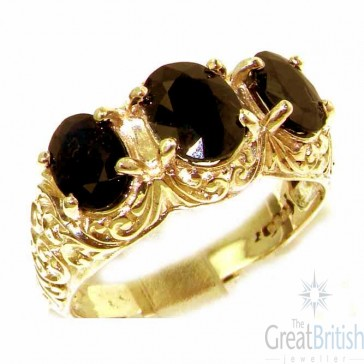 9ct Yellow Gold Natural Deep Blue Sapphire Art Nouveau Carved Large Trilogy Ring