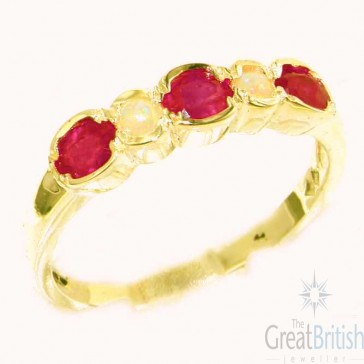 9ct Yellow Gold Ladies Natural Ruby & Fiery Opal Contemporary Style Eternity Band Ring