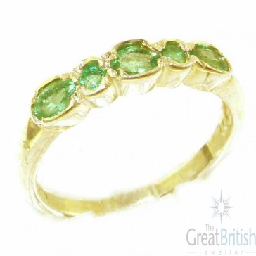 9ct Yellow Gold Ladies Natural Emerald Contemporary Style Eternity Band Ring