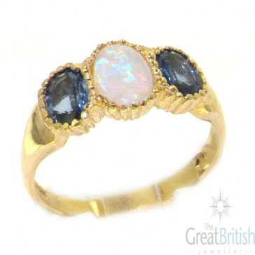9ct Yellow Gold Ladies Opal & Ceylon Sapphire Eternity Ring