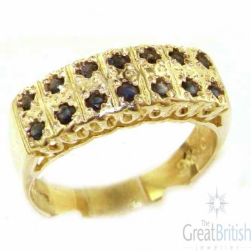 9ct Yellow Gold Natural Sapphire Victorian Style Wide Eternity Band Ring