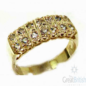 9ct Yellow Gold Natural Aquamarine Victorian Style Wide Eternity Band Ring