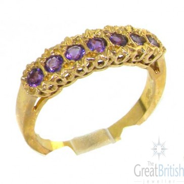 9ct Yellow Gold Ladies Natural Fiery Amethyst Victorian Style Eternity Band Ring