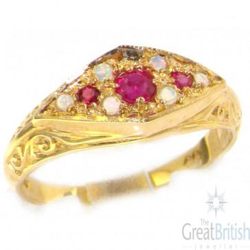 9ct Yellow Gold Ladies Ruby & Opal Carved Victorian Stye Ring