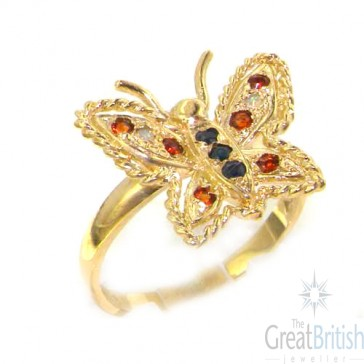 9ct Yellow Gold Ladies Sapphire Garnet & Opal Butterfly Ring