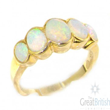 9ct Yellow Gold Ladies Large Opal 5 Stone Ring