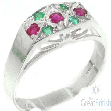 Sterling Silver Natural Ruby & Emerald Womens Ring