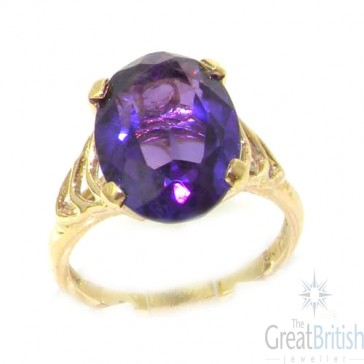 9ct Yellow Gold Amethyst Solitaire Ring