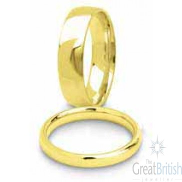 3mm 9ct Yellow Gold Ladies Court (Comfort Fit) Wedding Ring