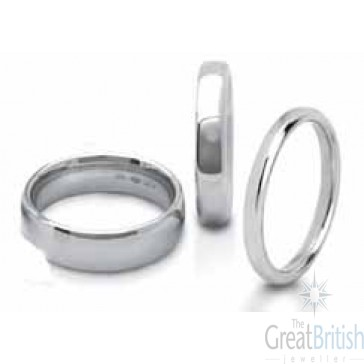 8mm 9ct White Gold Mens Court (Comfort Fit) Wedding Ring