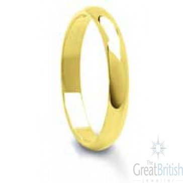 4mm 9ct Yellow Gold Ladies D-Shape Wedding Ring
