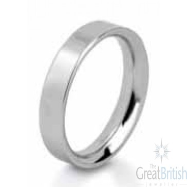 8mm 9ct White Gold Mens Flat Wedding Ring