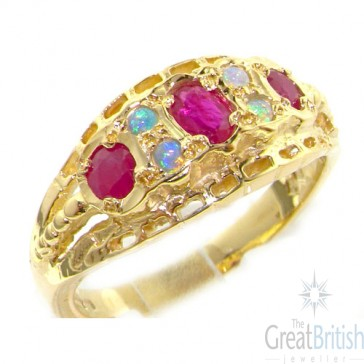 9ct Yellow Gold Colourful Fiery Opal & Ruby Ring