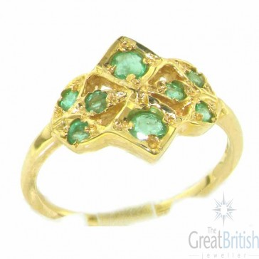 9ct Yellow Gold Ladies Emerald English Made Victorian Style Ring