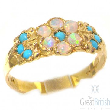 9ct Yellow Gold Ladies Turquoise & Fiery Opal English Made Victorian Style Eternity Ring