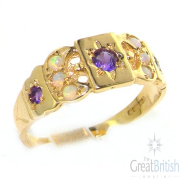 9ct Yellow Gold Ladies Amethyst & Opal Eternity Medieval Style Band Ring
